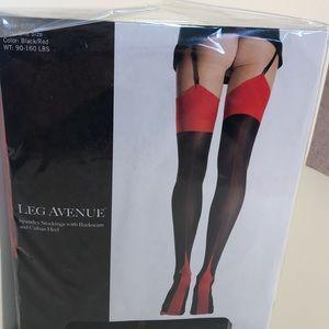 🔥Leg Avenue Black/Red Cuban Heel Stockings🔥